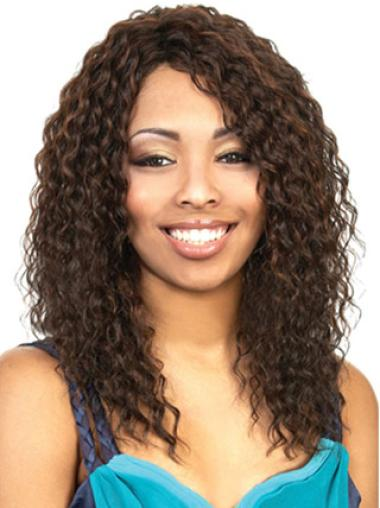 Natural Brown Curly Long African American Wigs