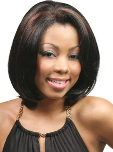 Preferential Black Lace Front Chin Length Lace Wigs