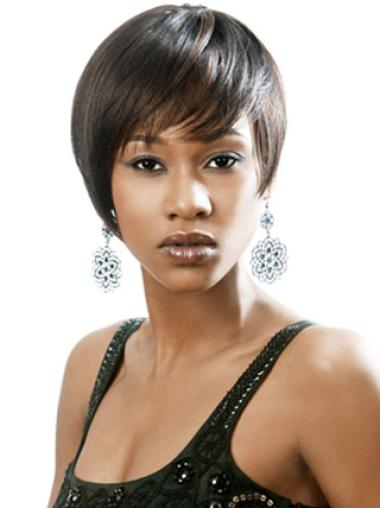 Braw Black Straight Short African American Wigs