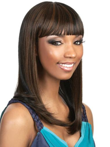 Radiant Brown Straight Long African American Wigs