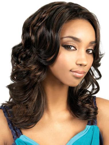 Graceful Brown Wavy Long African American Wigs