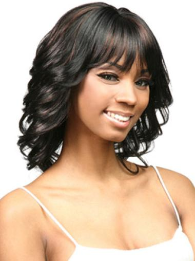 Easy Black Curly Shoulder Length African American Wigs