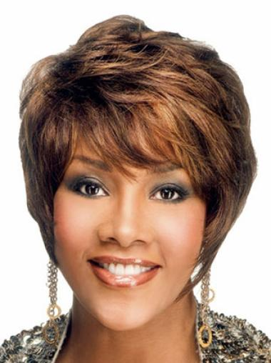 Beautiful Auburn Wavy Short African American Wigs