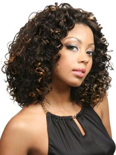 Durable Lace Front Curly Shoulder Length Lace Wigs