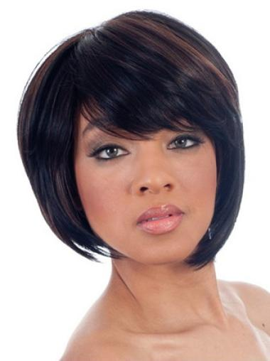 Polite Black Straight Chin Length African American Wigs