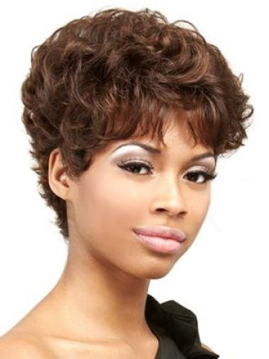 Braw Auburn Curly Cropped African American Wigs
