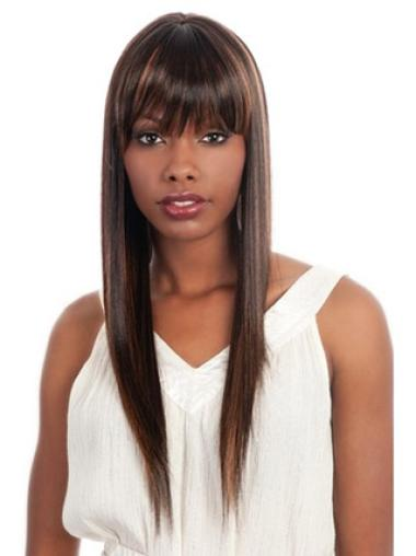 Mature Brown Straight Long African American Wigs