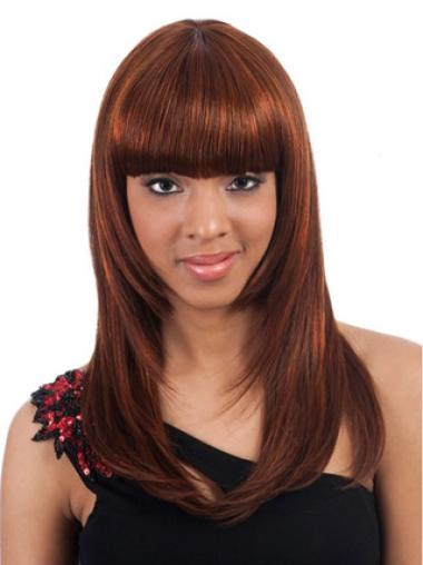 Discount Auburn Straight Long African American Wigs