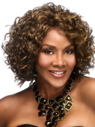 Brown Curly Synthetic Preferential Medium Wigs