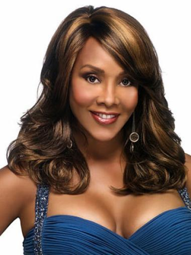 Fashion Brown Wavy Long African American Wigs