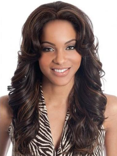 Brown Wavy Long Human Hair Lace Front Wigs