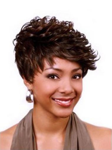 Shining Auburn Curly Cropped African American Wigs