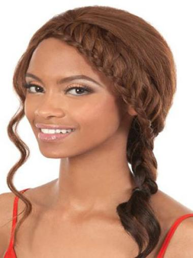 Sleek Brown Wavy Shoulder Length African American Wigs