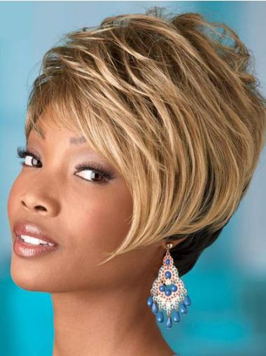 Popular Blonde Wavy Short African American Wigs