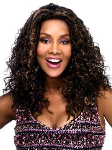 Cosy Brown Curly Long Glueless Lace Front Wigs