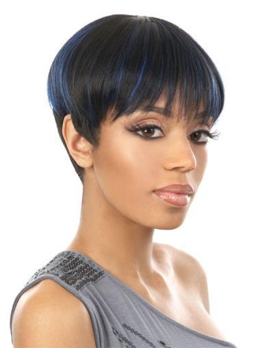 Shining Black Straight Cropped African American Wigs