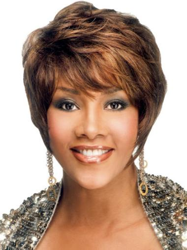 Refined Brown Straight Short African American Wigs