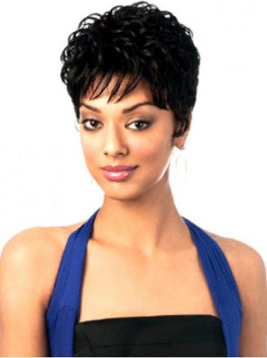 Stylish Black Wavy Cropped African American Wigs