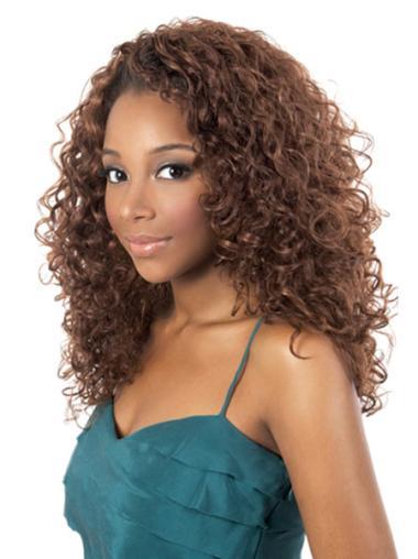 Elegant Auburn Curly Shoulder Length African American Wigs