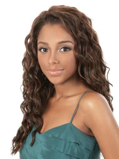 Polite Brown Wavy Long African American Wigs