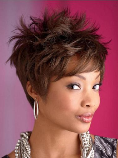 Fabulous Brown Wavy Cropped African American Wigs