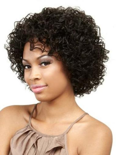 Suitable Black Curly Chin Length African American Wigs