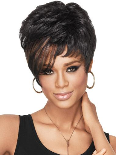 Radiant Black Wavy Cropped African American Wigs