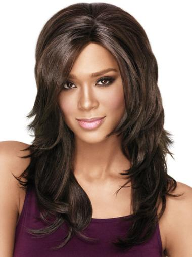 Brown Layered Wavy Faddish African American Wigs