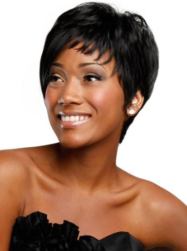 Nice Black Straight Short African American Wigs