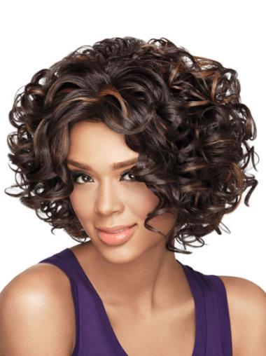 Good Brown Curly Chin Length African American Wigs