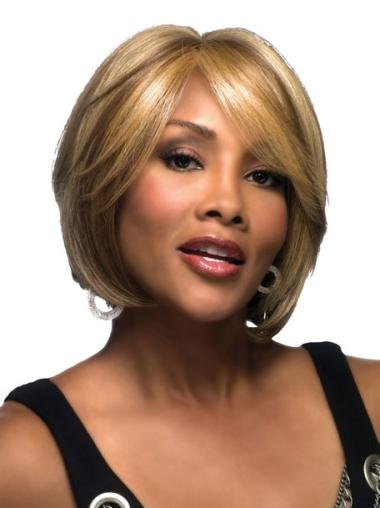 Durable Blonde Straight Chin Length Lace Front Wigs