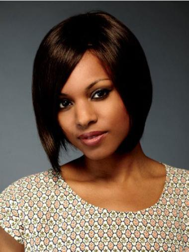 Unique Brown Straight Chin Length African American Wigs
