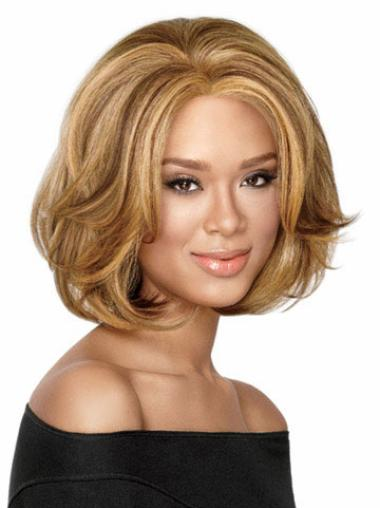 Bobs Fashionable Blonde Wavy Medium Wigs