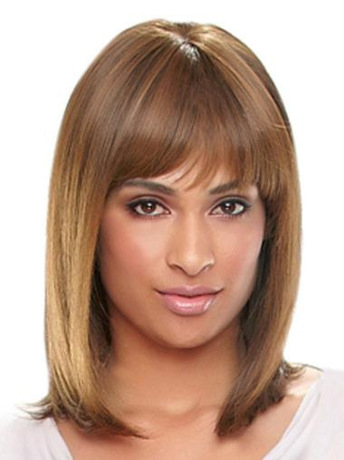 Exquisite Auburn Straight Shoulder Length African American Wigs