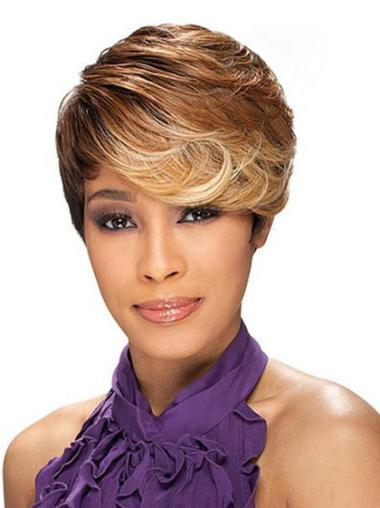 Brown Layered Wavy Polite African American Wigs