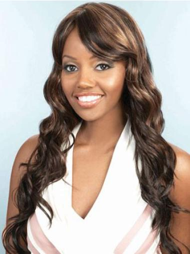 Brown Layered Wavy Gentle African American Wigs