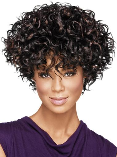 Top Black Curly Short African American Wigs,