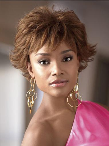 Brown Layered Wavy Comfortable African American Wigs