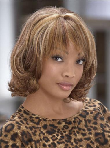 Brown Fashionable Curly Synthetic Medium Wigs