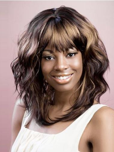 Brown Layered Wavy Fashionable African American Wigs