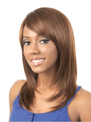 Unique Auburn Straight Shoulder Length African American Wigs