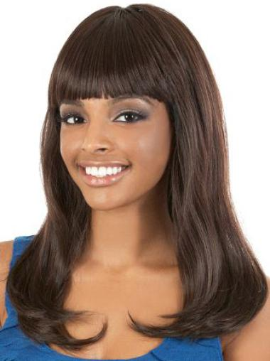 Stylish Brown Straight Long African American Wigs