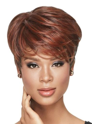 Mature Red Wavy Cropped African American Wigs