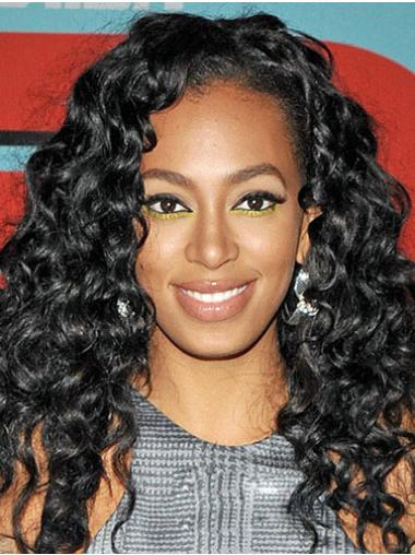 Mature Black Curly Long Celebrity Wigs