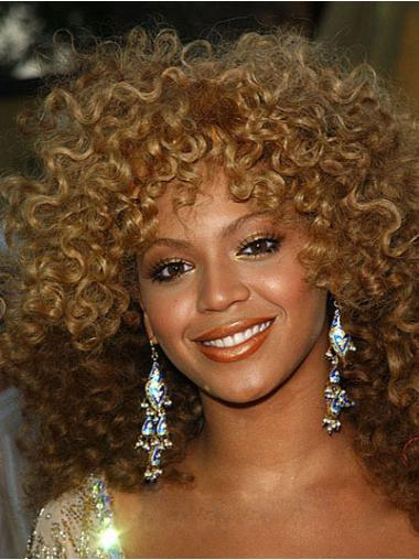 Natural Auburn Curly Shoulder Length Beyonce Wigs For Cancer