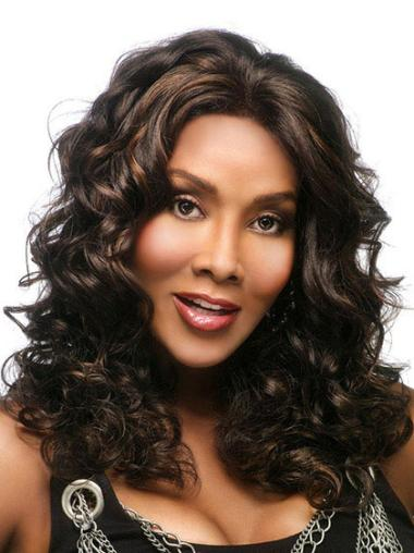 Comfortable Brown Wavy Long African American Wigs