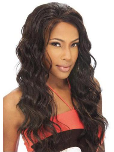 Beautiful Brown Wavy Long Human Hair Lace Front Wigs