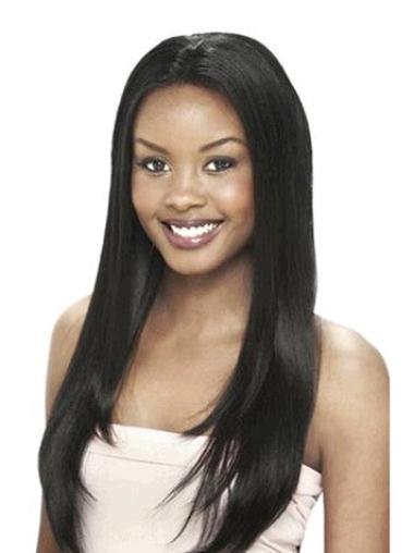 Pleasing Black Straight Long Human Hair Lace Front Wigs