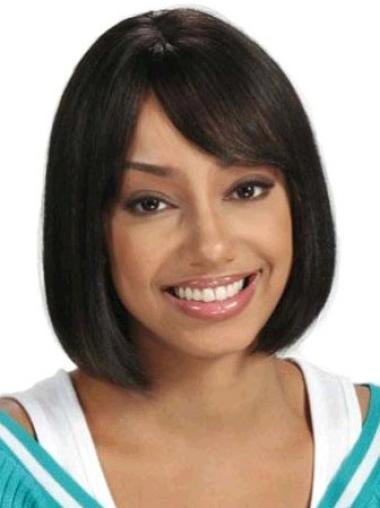 Fashionable Black Straight Chin Length African American Wigs