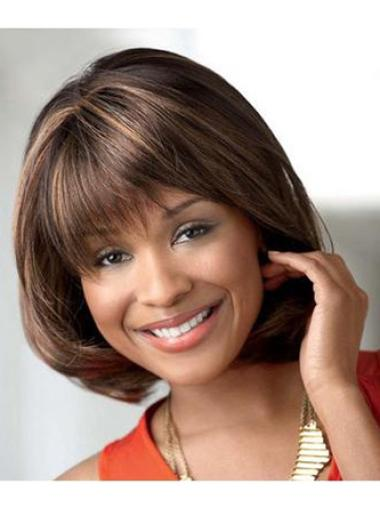 Preferential Brown Straight Chin Length African American Wigs